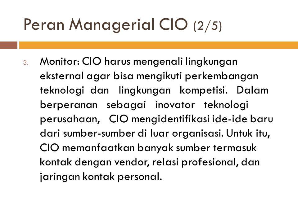 Peran Managerial CIO (2/5) 3. Monitor: CIO harus mengenali lingkungan eksternal agar bisa mengikuti perkembangan teknologi dan lingkungan kompetisi. D