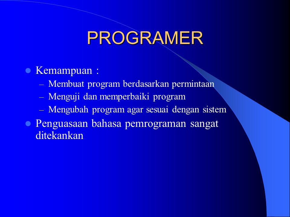 PROGRAMER Kemampuan : – Membuat program berdasarkan permintaan – Menguji dan memperbaiki program – Mengubah program agar sesuai dengan sistem Penguasaan bahasa pemrograman sangat ditekankan