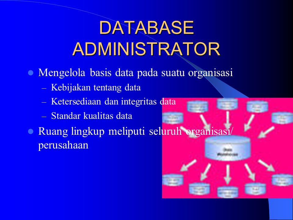 DATABASE ADMINISTRATOR Mengelola basis data pada suatu organisasi – Kebijakan tentang data – Ketersediaan dan integritas data – Standar kualitas data