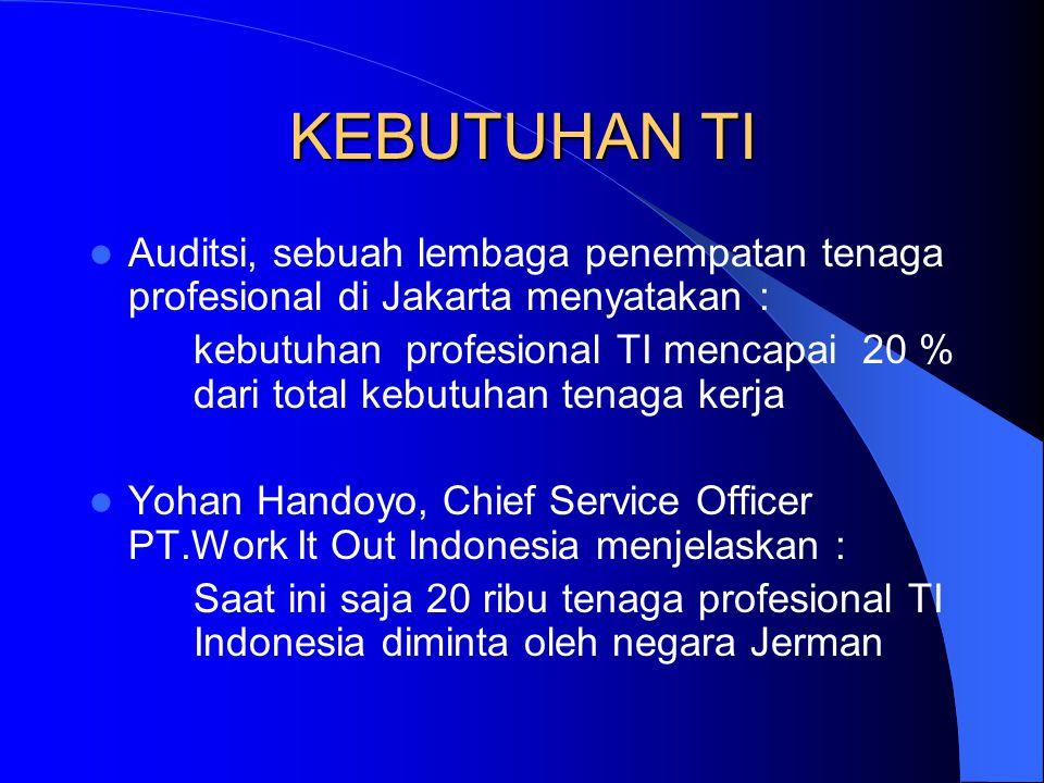 KEBUTUHAN TI Auditsi, sebuah lembaga penempatan tenaga profesional di Jakarta menyatakan : kebutuhan profesional TI mencapai 20 % dari total kebutuhan