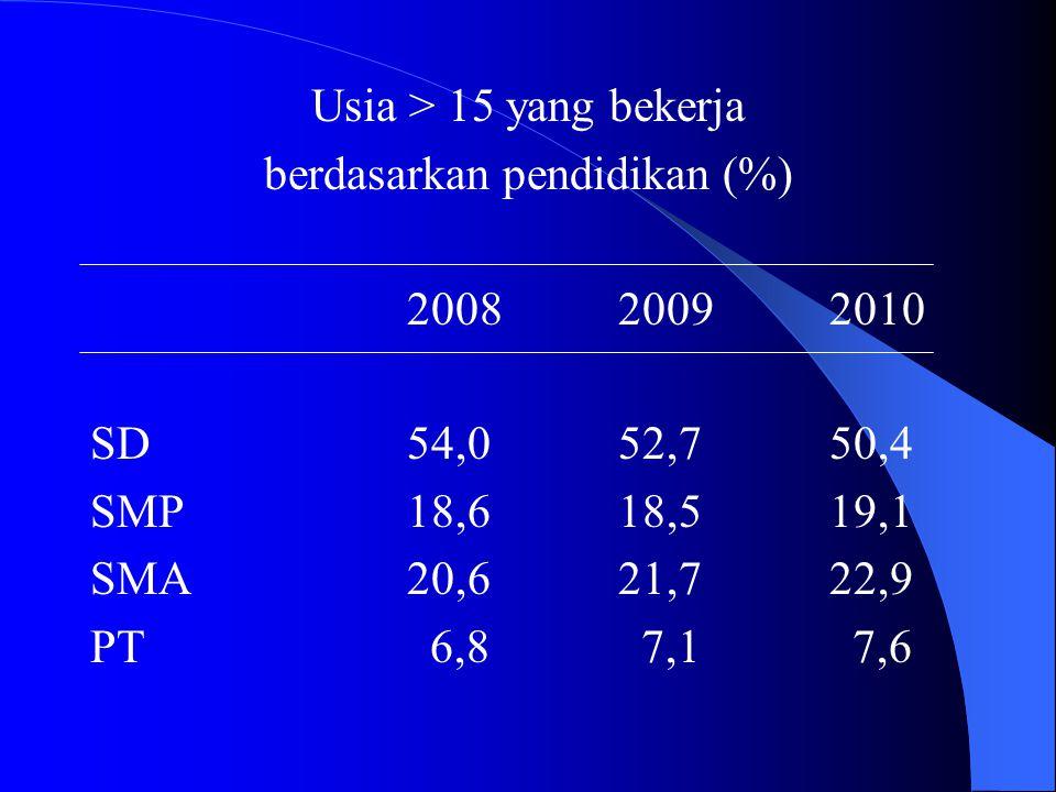 Usia > 15 yang bekerja berdasarkan pendidikan (%) 200820092010 SD54,052,750,4 SMP18,618,519,1 SMA20,621,722,9 PT 6,8 7,1 7,6