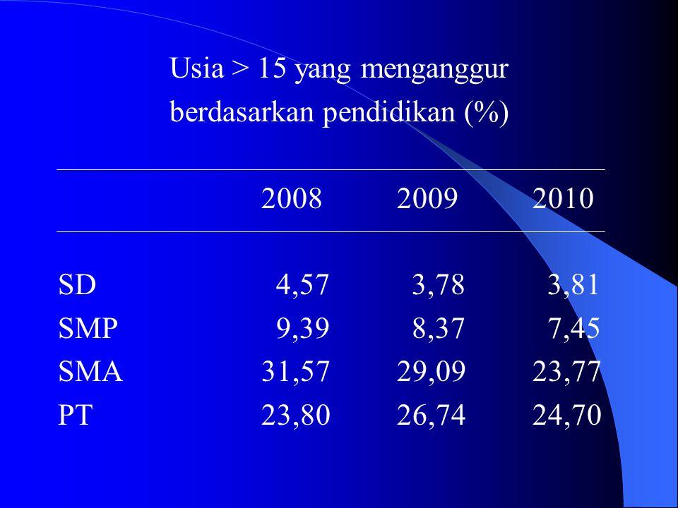 Usia > 15 yang menganggur berdasarkan pendidikan (%) 200820092010 SD 4,57 3,78 3,81 SMP 9,39 8,37 7,45 SMA31,5729,0923,77 PT23,8026,7424,70