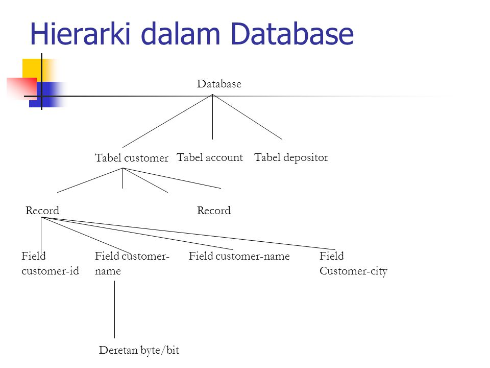 Hierarki dalam Database Database Tabel customer Tabel accountTabel depositor Field customer-id Field customer- name Field Customer-city Deretan byte/b