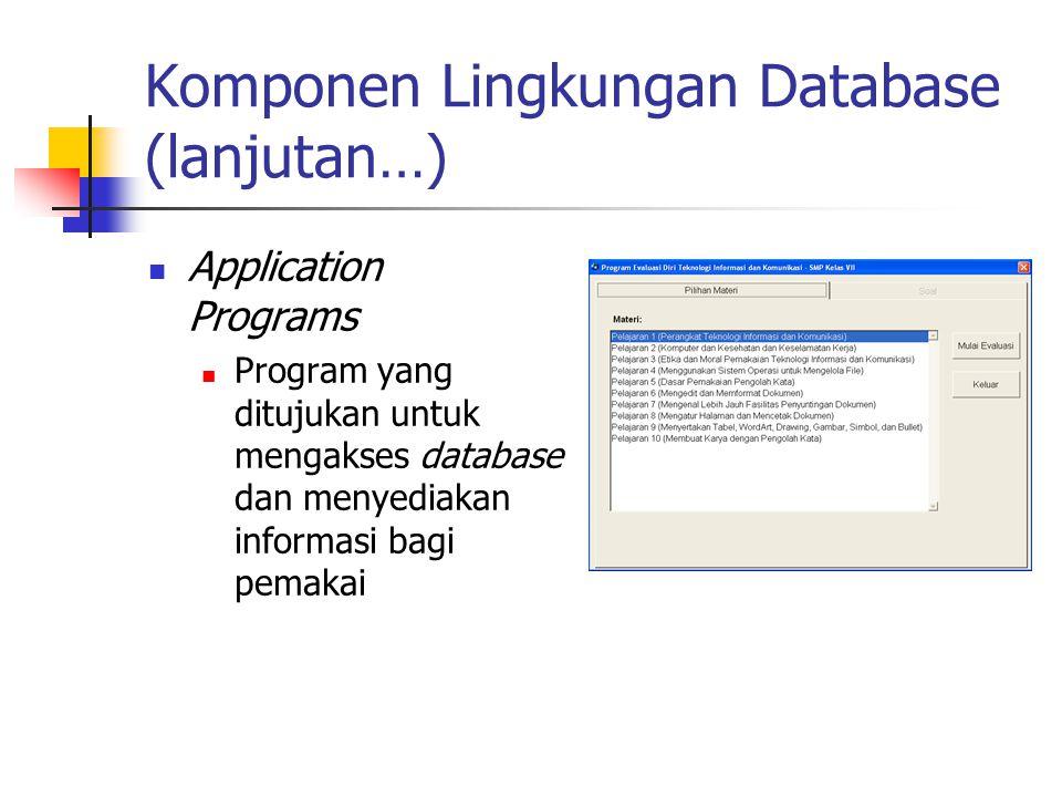 Komponen Lingkungan Database (lanjutan…) Application Programs Program yang ditujukan untuk mengakses database dan menyediakan informasi bagi pemakai