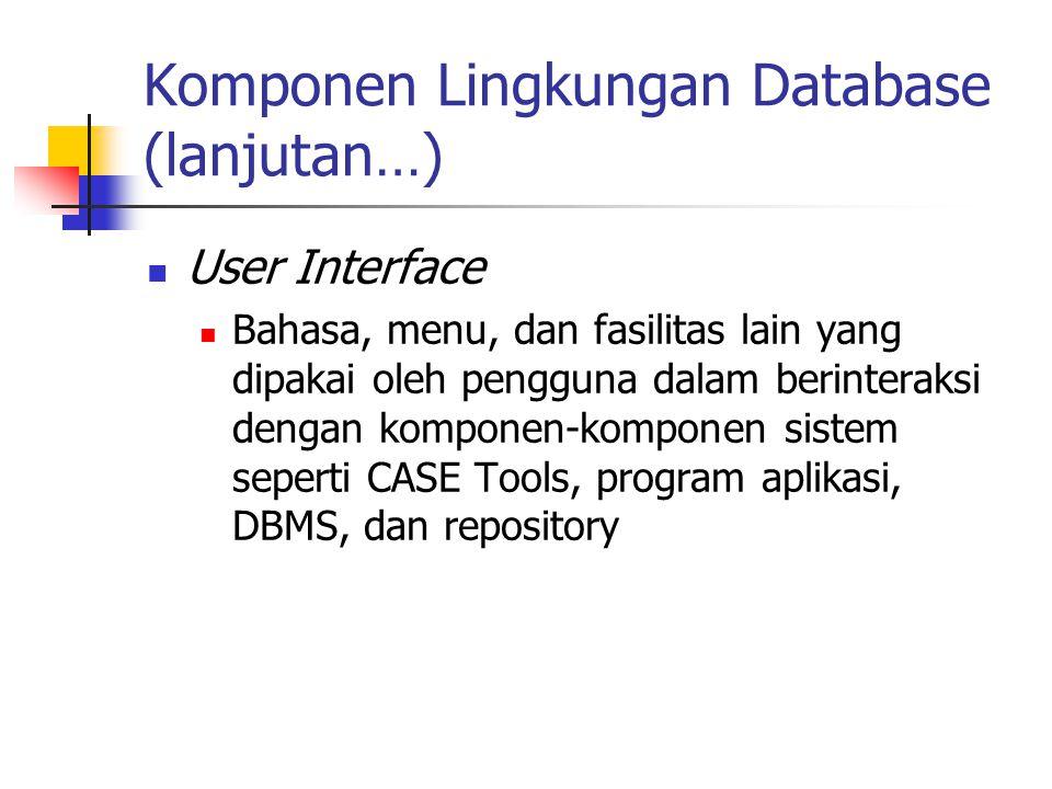 Komponen Lingkungan Database (lanjutan…) User Interface Bahasa, menu, dan fasilitas lain yang dipakai oleh pengguna dalam berinteraksi dengan komponen