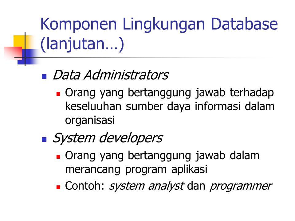 Komponen Lingkungan Database (lanjutan…) Data Administrators Orang yang bertanggung jawab terhadap keseluuhan sumber daya informasi dalam organisasi S