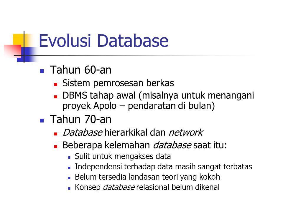 Evolusi Database Tahun 60-an Sistem pemrosesan berkas DBMS tahap awal (misalnya untuk menangani proyek Apolo – pendaratan di bulan) Tahun 70-an Databa