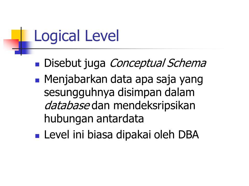 Logical Level Disebut juga Conceptual Schema Menjabarkan data apa saja yang sesungguhnya disimpan dalam database dan mendeksripsikan hubungan antardat