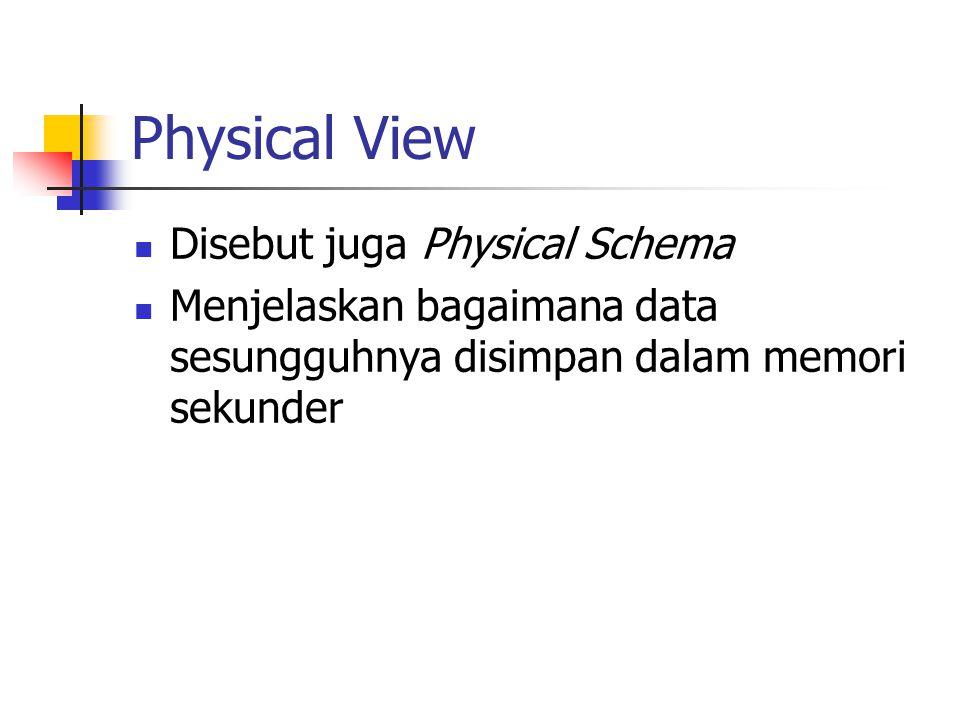 Physical View Disebut juga Physical Schema Menjelaskan bagaimana data sesungguhnya disimpan dalam memori sekunder