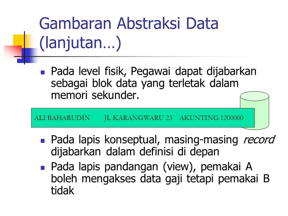 Gambaran Abstraksi Data (lanjutan…) Pada level fisik, Pegawai dapat dijabarkan sebagai blok data yang terletak dalam memori sekunder. Pada lapis konse
