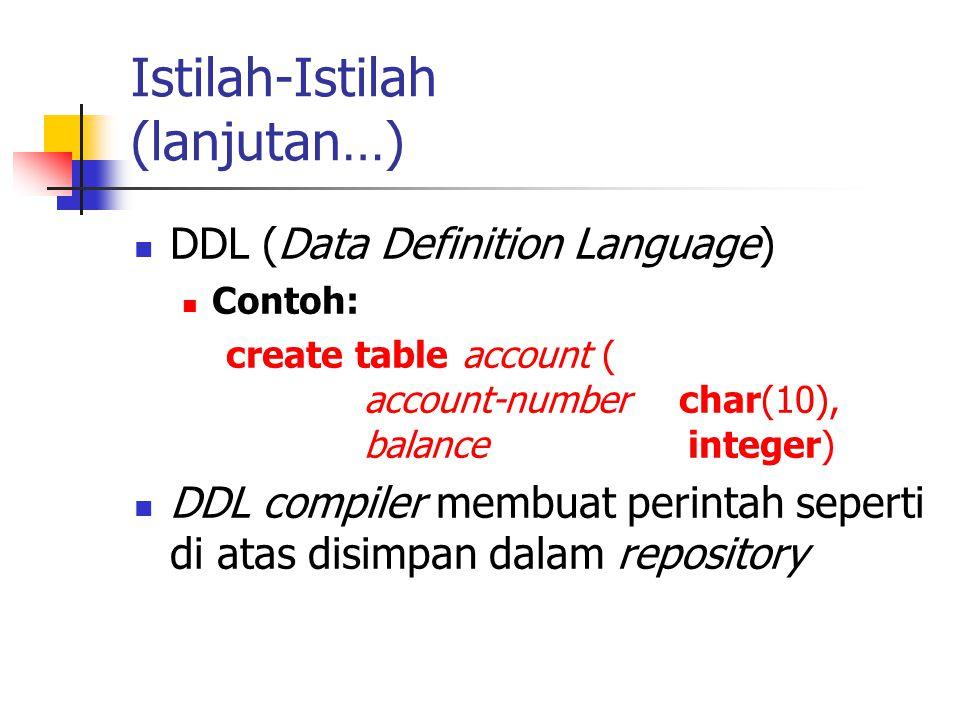 Istilah-Istilah (lanjutan…) DDL (Data Definition Language) Contoh: create table account ( account-number char(10), balance integer) DDL compiler membu