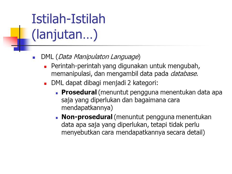 Istilah-Istilah (lanjutan…) DML (Data Manipulaton Language) Perintah-perintah yang digunakan untuk mengubah, memanipulasi, dan mengambil data pada dat