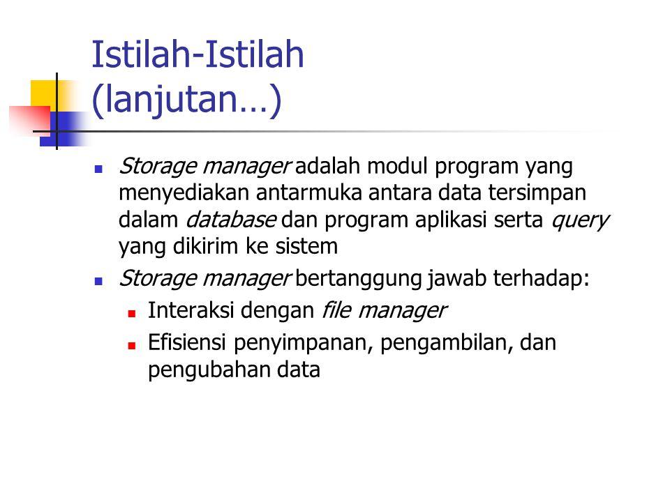 Istilah-Istilah (lanjutan…) Storage manager adalah modul program yang menyediakan antarmuka antara data tersimpan dalam database dan program aplikasi