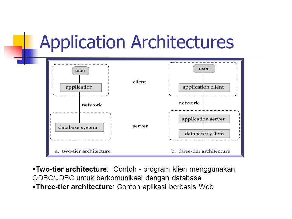 Application Architectures  Two-tier architecture: Contoh - program klien menggunakan ODBC/JDBC untuk berkomunikasi dengan database  Three-tier archi