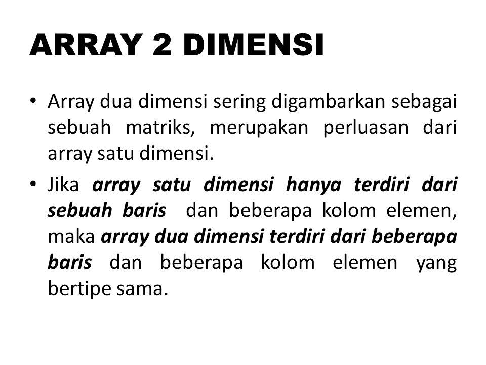 tipe_data nama_var_array[batas_baris ][batas_kolom];  int matriks[3][4];  int matriks2[3][4]={{5,2,1,18}, {4,7,6,-9}, {9,0,4,43} };