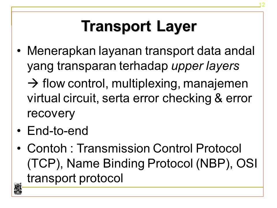 12 Transport Layer Menerapkan layanan transport data andal yang transparan terhadap upper layers  flow control, multiplexing, manajemen virtual circu
