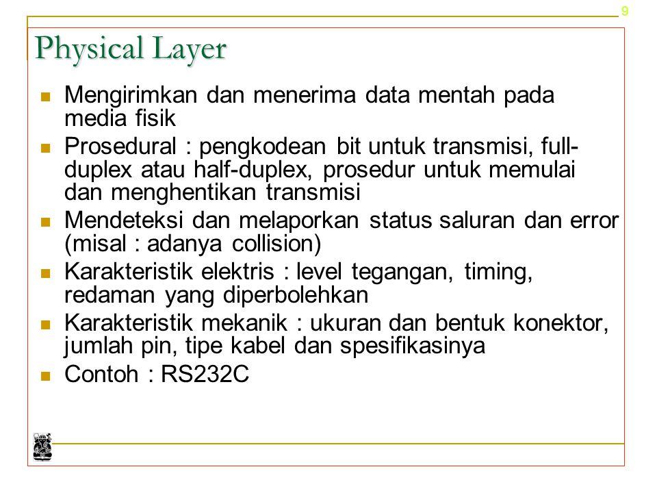 9 Physical Layer Mengirimkan dan menerima data mentah pada media fisik Prosedural : pengkodean bit untuk transmisi, full- duplex atau half-duplex, pro