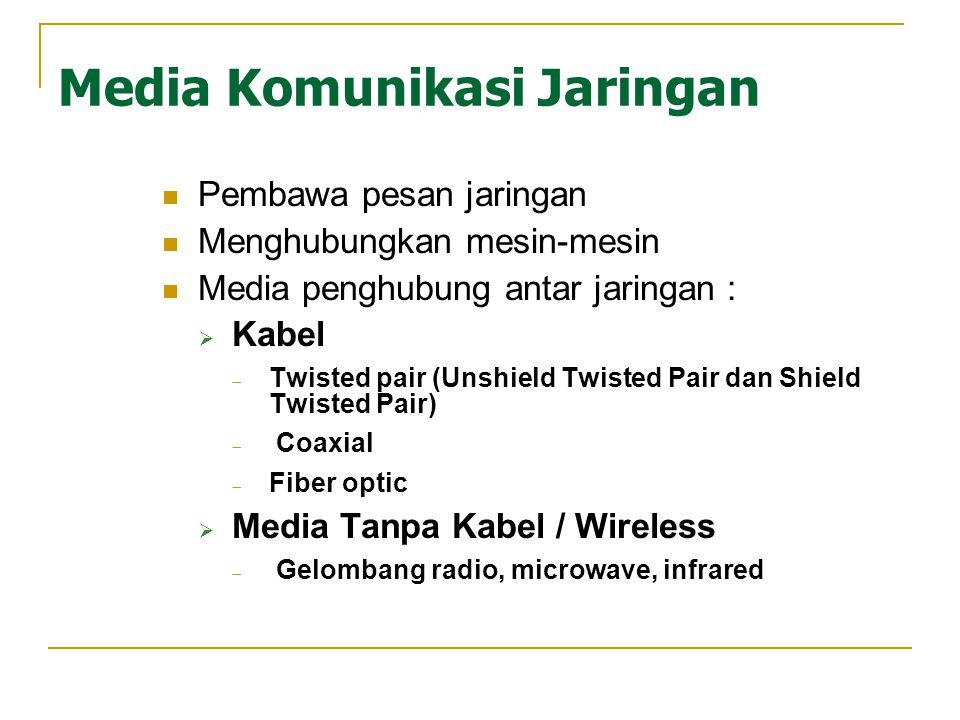 Media Komunikasi Jaringan Pembawa pesan jaringan Menghubungkan mesin-mesin Media penghubung antar jaringan :  Kabel  Twisted pair (Unshield Twisted Pair dan Shield Twisted Pair)  Coaxial  Fiber optic  Media Tanpa Kabel / Wireless  Gelombang radio, microwave, infrared