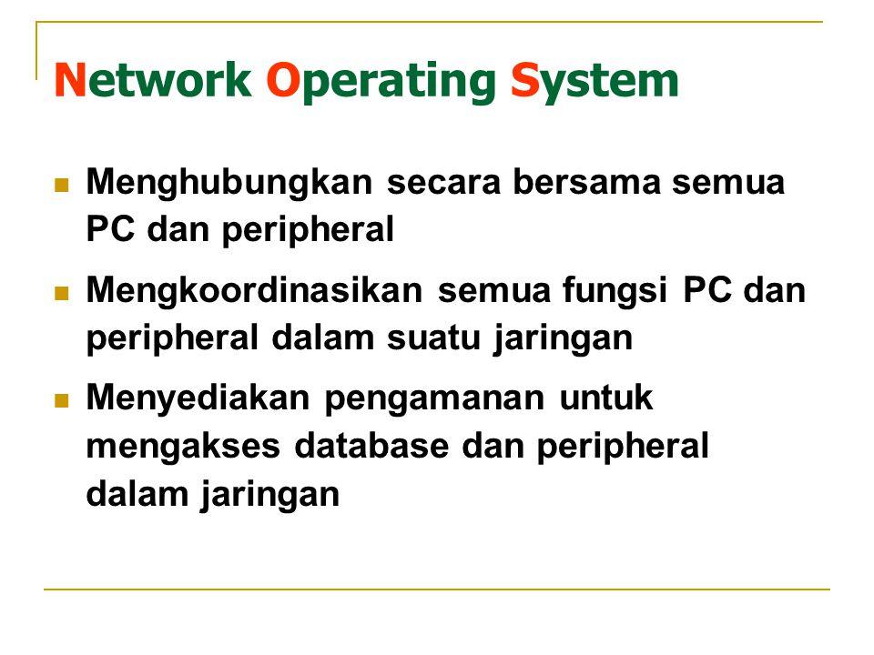 Network Operating System Menghubungkan secara bersama semua PC dan peripheral Mengkoordinasikan semua fungsi PC dan peripheral dalam suatu jaringan Menyediakan pengamanan untuk mengakses database dan peripheral dalam jaringan
