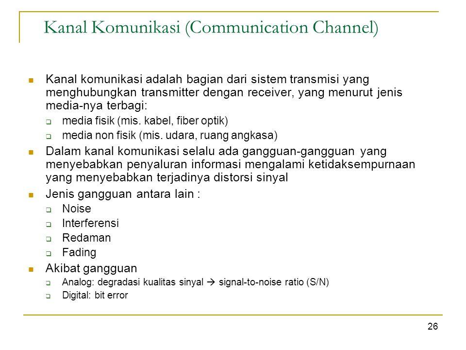 Kanal Komunikasi (Communication Channel) Kanal komunikasi adalah bagian dari sistem transmisi yang menghubungkan transmitter dengan receiver, yang menurut jenis media-nya terbagi:  media fisik (mis.