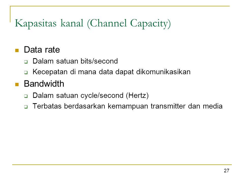 Kapasitas kanal (Channel Capacity) 27 Data rate  Dalam satuan bits/second  Kecepatan di mana data dapat dikomunikasikan Bandwidth  Dalam satuan cycle/second (Hertz)  Terbatas berdasarkan kemampuan transmitter dan media