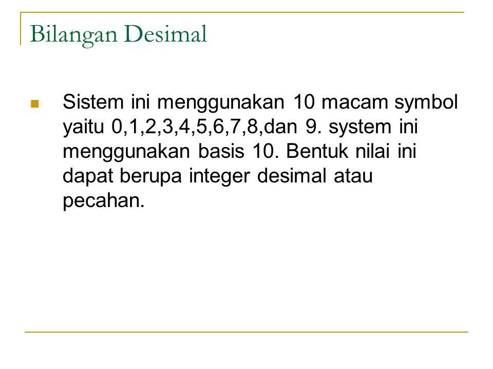 Bilangan Desimal Sistem ini menggunakan 10 macam symbol yaitu 0,1,2,3,4,5,6,7,8,dan 9.