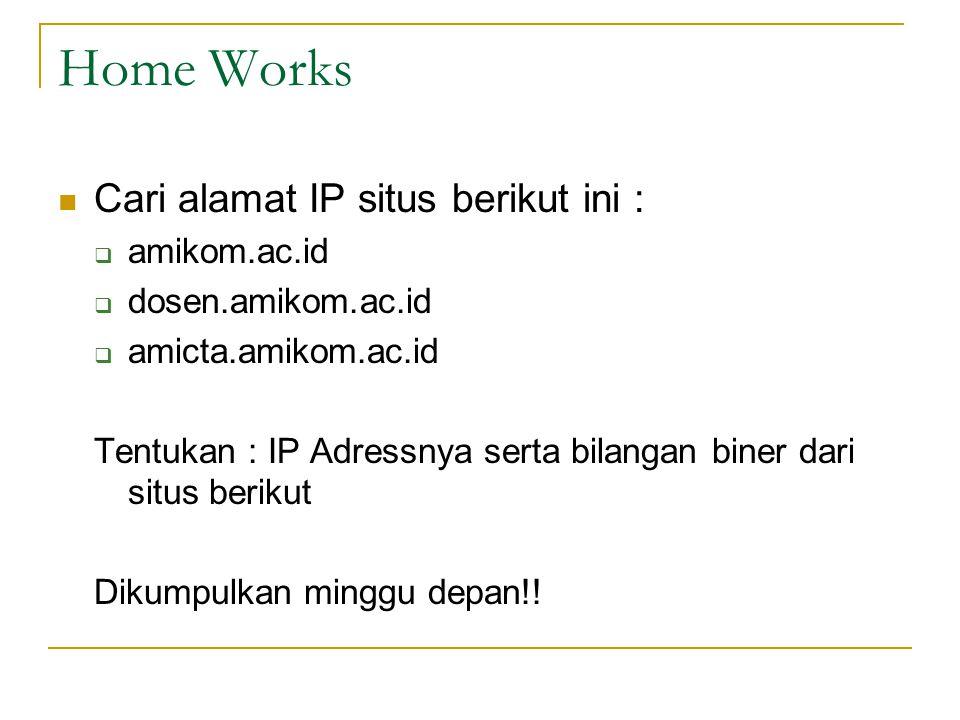 Home Works Cari alamat IP situs berikut ini :  amikom.ac.id  dosen.amikom.ac.id  amicta.amikom.ac.id Tentukan : IP Adressnya serta bilangan biner dari situs berikut Dikumpulkan minggu depan!!