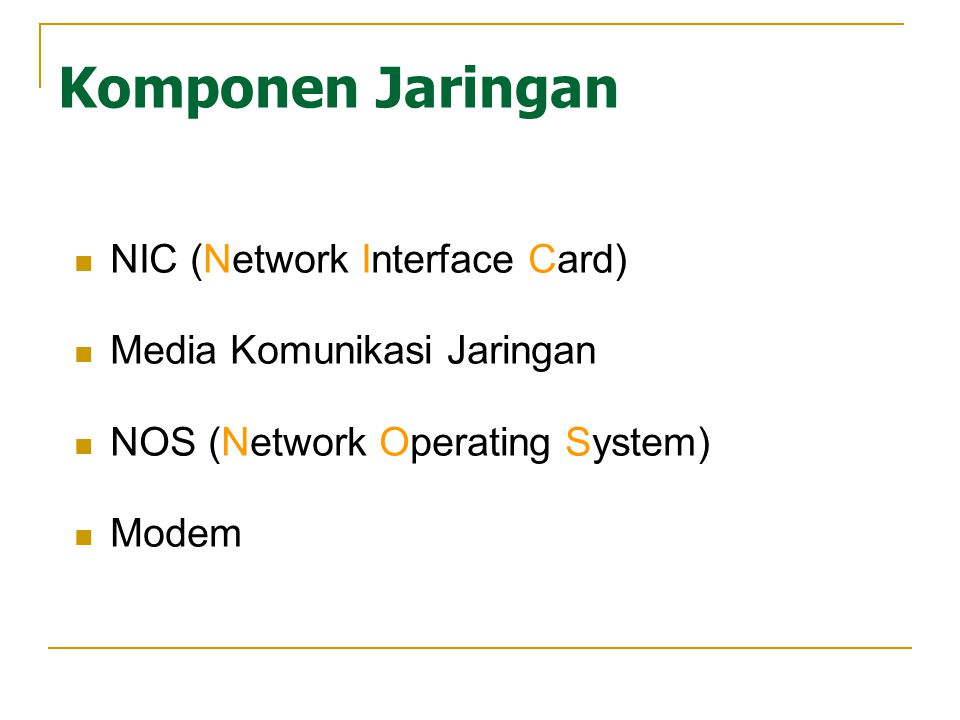 Komponen Jaringan NIC (Network Interface Card) Media Komunikasi Jaringan NOS (Network Operating System) Modem
