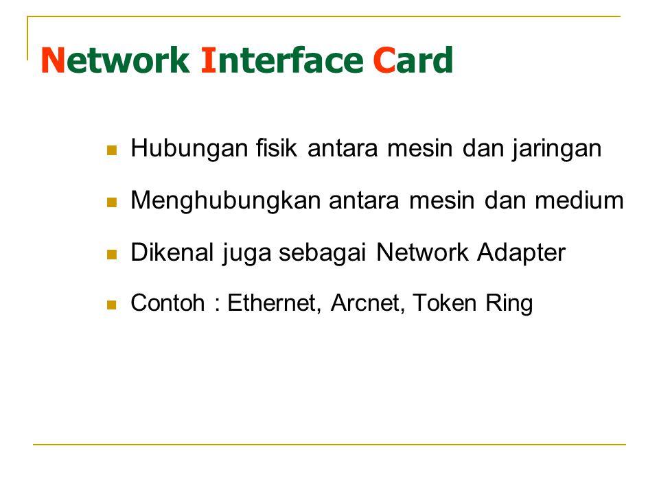 Network Interface Card Hubungan fisik antara mesin dan jaringan Menghubungkan antara mesin dan medium Dikenal juga sebagai Network Adapter Contoh : Ethernet, Arcnet, Token Ring