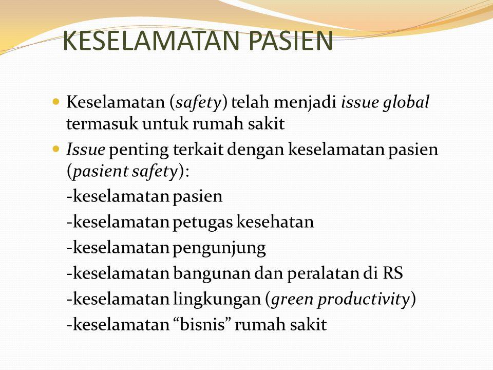 KESELAMATAN PASIEN Keselamatan (safety) telah menjadi issue global termasuk untuk rumah sakit Issue penting terkait dengan keselamatan pasien (pasient