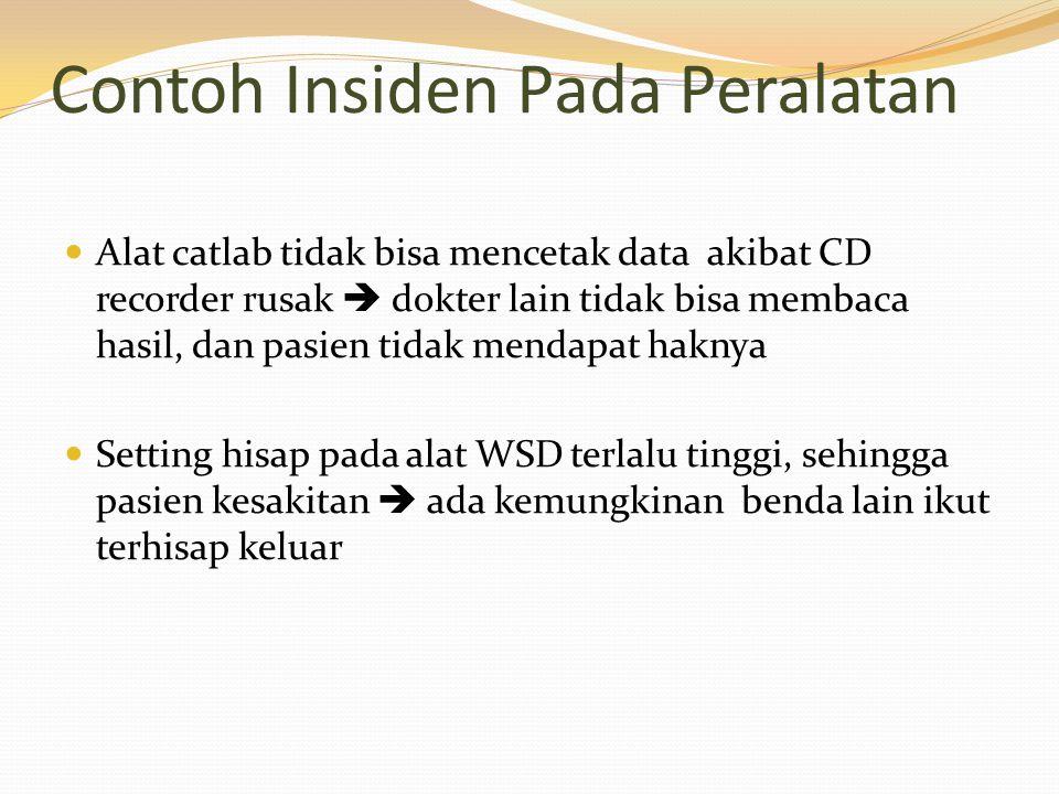 Contoh Insiden Pada Peralatan Alat catlab tidak bisa mencetak data akibat CD recorder rusak  dokter lain tidak bisa membaca hasil, dan pasien tidak m
