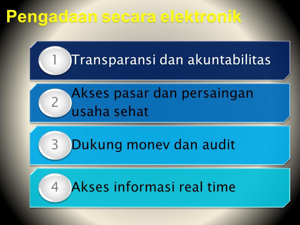 Transparansi dan akuntabilitas 1 Akses pasar dan persaingan usaha sehat 2 Dukung monev dan audit 3 Akses informasi real time 4 Pengadaan secara elektr