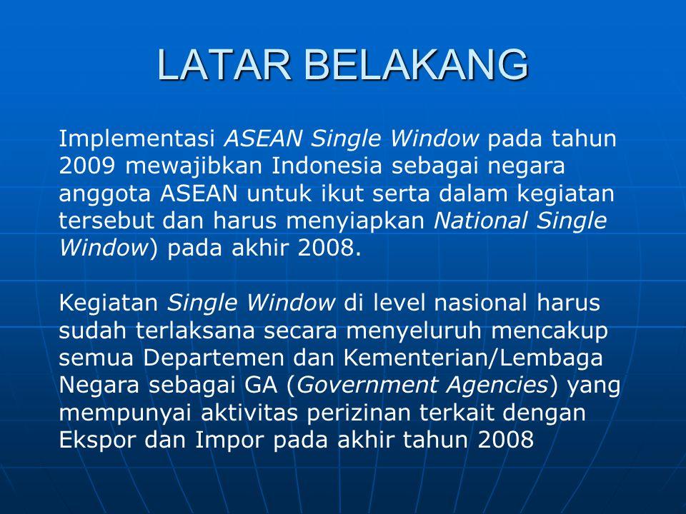 LATAR BELAKANG Implementasi ASEAN Single Window pada tahun 2009 mewajibkan Indonesia sebagai negara anggota ASEAN untuk ikut serta dalam kegiatan ters