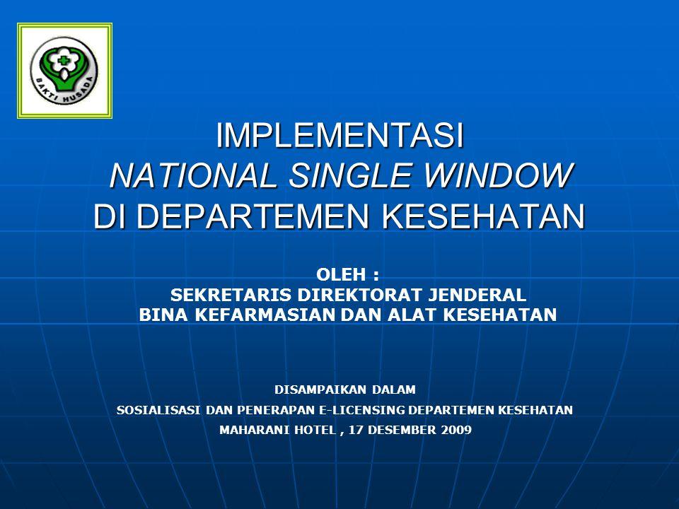 LATAR BELAKANG Implementasi ASEAN Single Window pada tahun 2009 mewajibkan Indonesia sebagai negara anggota ASEAN untuk ikut serta dalam kegiatan tersebut dan harus menyiapkan National Single Window) pada akhir 2008.