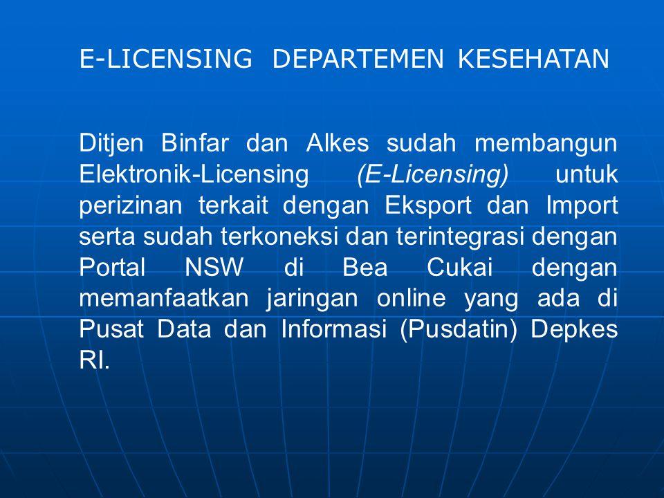 Ditjen Binfar dan Alkes sudah membangun Elektronik-Licensing (E-Licensing) untuk perizinan terkait dengan Eksport dan Import serta sudah terkoneksi da