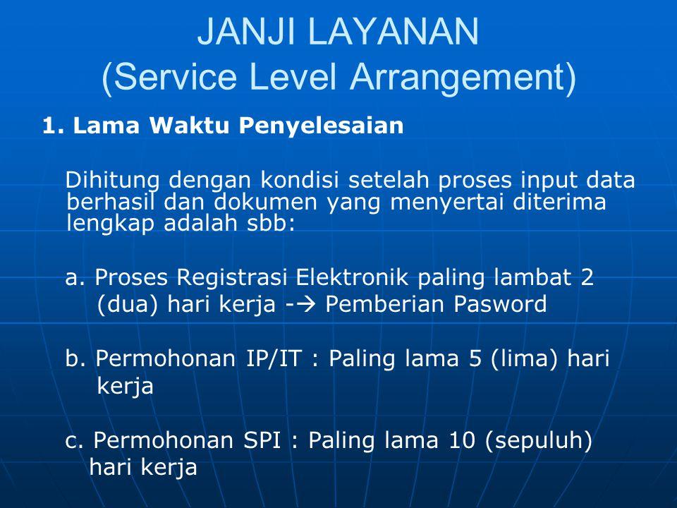 JANJI LAYANAN (Service Level Arrangement) 1. Lama Waktu Penyelesaian Dihitung dengan kondisi setelah proses input data berhasil dan dokumen yang menye