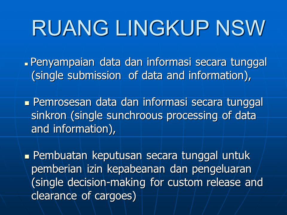 MANFAAT NSW Pembangunan dan penerapan sistem NSW di Indonesia dimaksudkan untuk:  Mempercepat penyelesaian proses ekspor- impor melalui peningkatan efektifitas dan kinerja lalu lintas barang ekspor-impor.