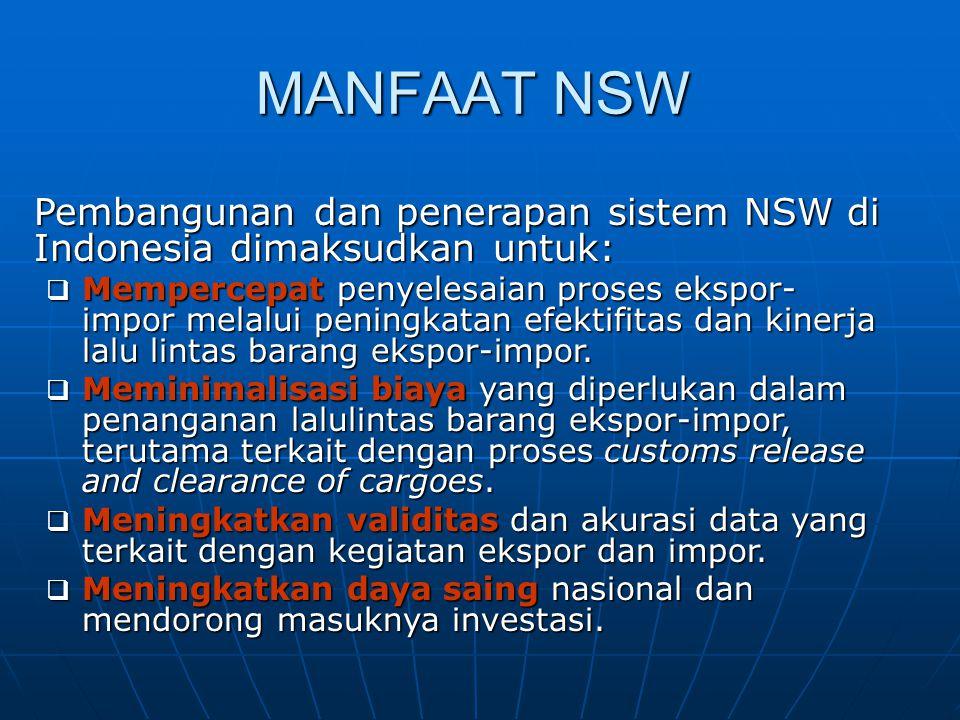 MANFAAT NSW Pembangunan dan penerapan sistem NSW di Indonesia dimaksudkan untuk:  Mempercepat penyelesaian proses ekspor- impor melalui peningkatan e