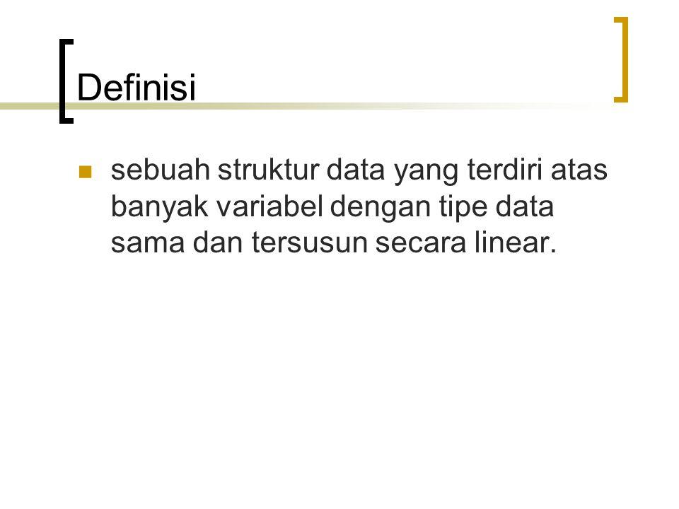Definisi sebuah struktur data yang terdiri atas banyak variabel dengan tipe data sama dan tersusun secara linear.