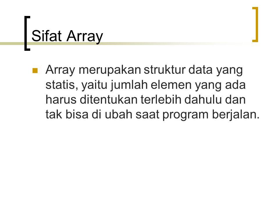 Sifat Array Array merupakan struktur data yang statis, yaitu jumlah elemen yang ada harus ditentukan terlebih dahulu dan tak bisa di ubah saat program