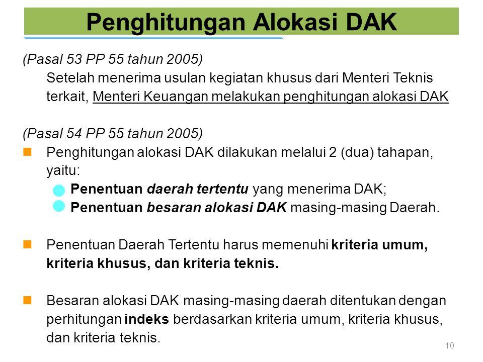 Penghitungan Alokasi DAK 10 (Pasal 53 PP 55 tahun 2005) Setelah menerima usulan kegiatan khusus dari Menteri Teknis terkait, Menteri Keuangan melakuka