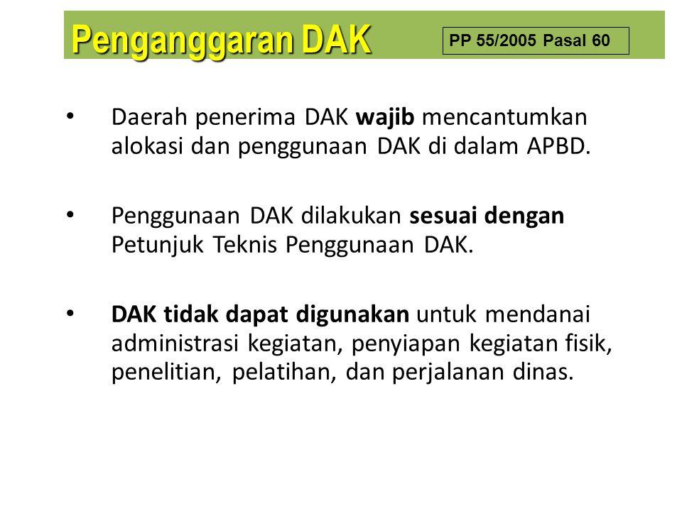 Daerah penerima DAK wajib mencantumkan alokasi dan penggunaan DAK di dalam APBD. Penggunaan DAK dilakukan sesuai dengan Petunjuk Teknis Penggunaan DAK