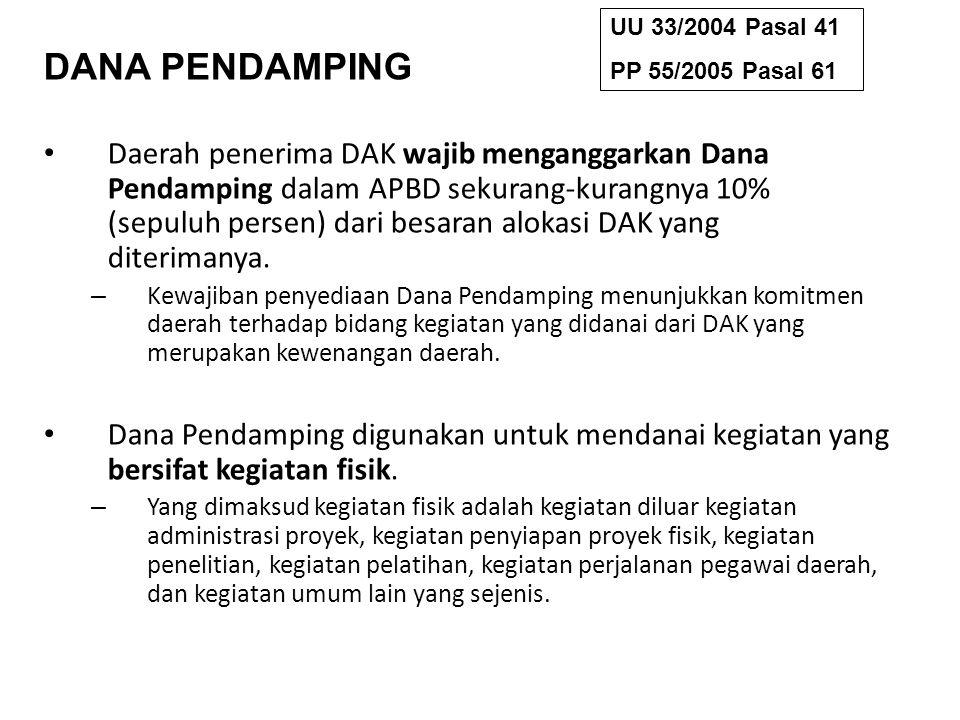 DANA PENDAMPING Daerah penerima DAK wajib menganggarkan Dana Pendamping dalam APBD sekurang-kurangnya 10% (sepuluh persen) dari besaran alokasi DAK ya