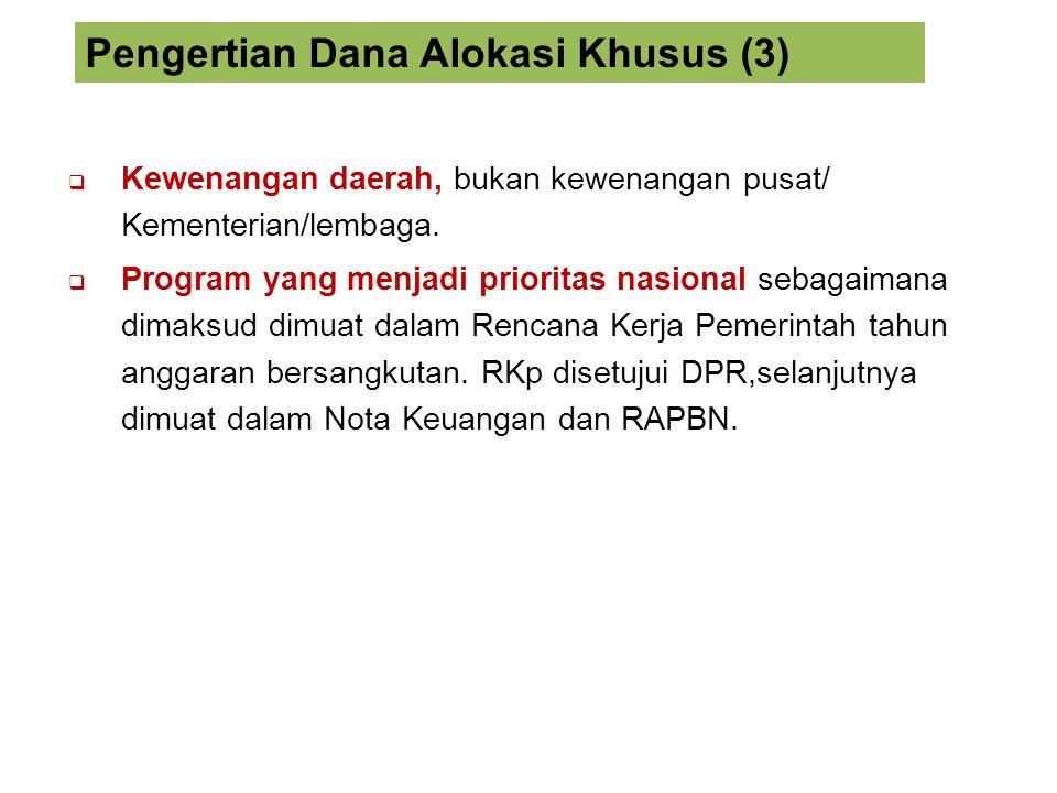  Kewenangan daerah, bukan kewenangan pusat/ Kementerian/lembaga.  Program yang menjadi prioritas nasional sebagaimana dimaksud dimuat dalam Rencana