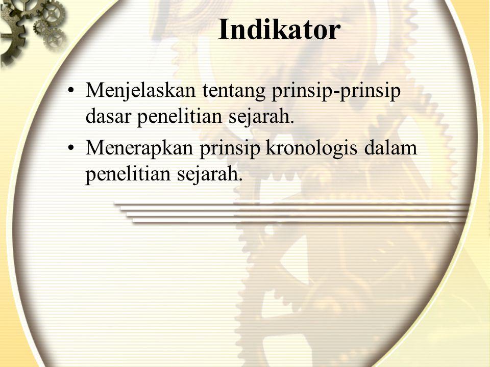 Indikator Menjelaskan tentang prinsip-prinsip dasar penelitian sejarah.