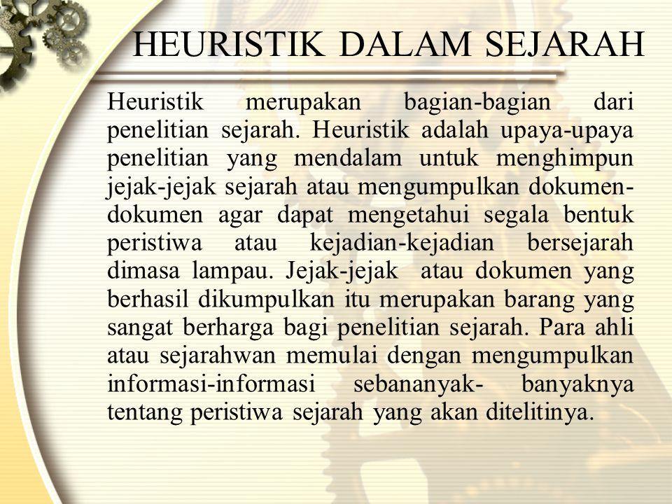 HEURISTIK DALAM SEJARAH Heuristik merupakan bagian-bagian dari penelitian sejarah.