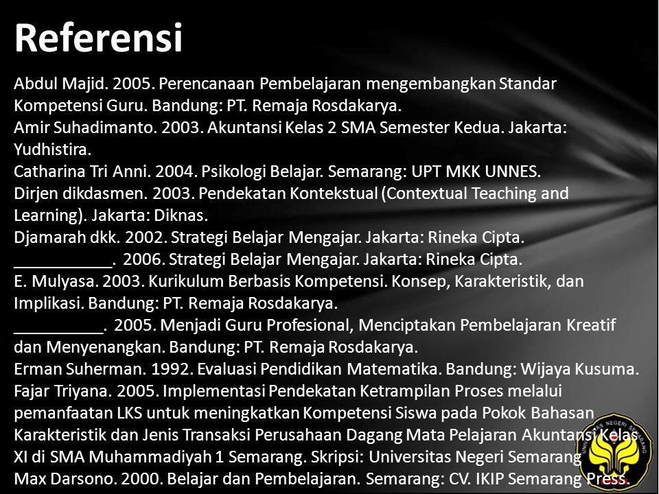 Referensi Abdul Majid. 2005. Perencanaan Pembelajaran mengembangkan Standar Kompetensi Guru. Bandung: PT. Remaja Rosdakarya. Amir Suhadimanto. 2003. A