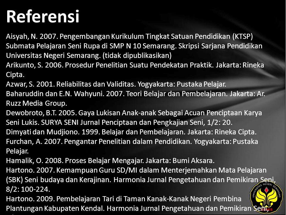 Referensi Aisyah, N. 2007. Pengembangan Kurikulum Tingkat Satuan Pendidikan (KTSP) Submata Pelajaran Seni Rupa di SMP N 10 Semarang. Skripsi Sarjana P