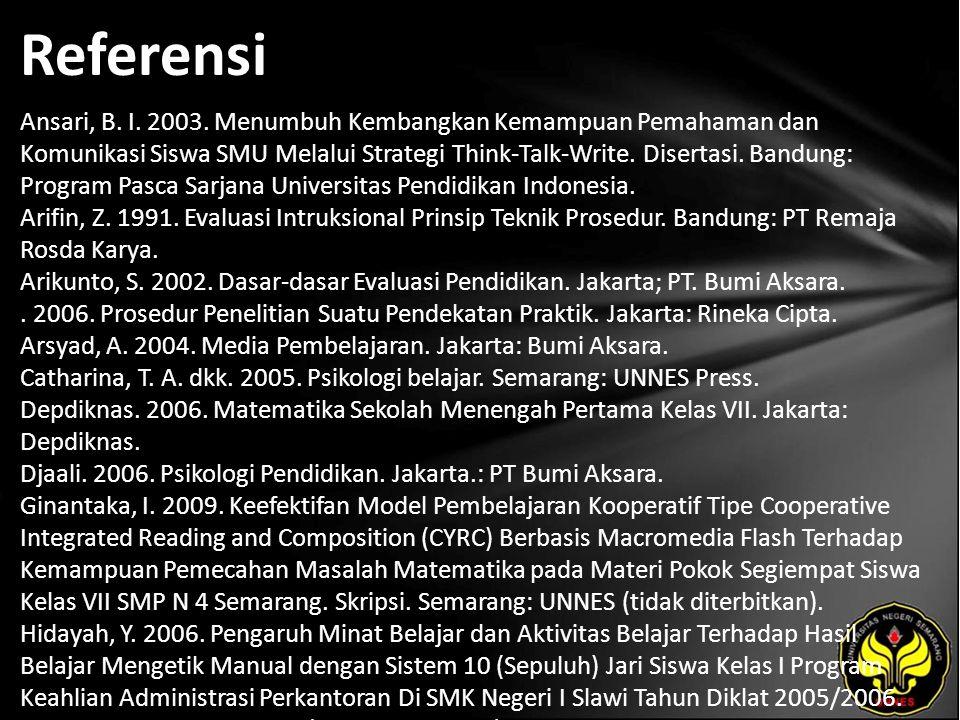 Referensi Ansari, B. I. 2003.