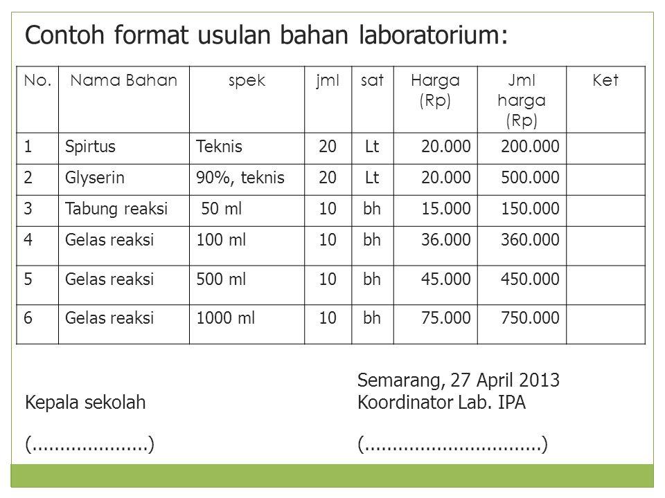 Contoh format usulan bahan laboratorium: Semarang, 27 April 2013 Kepala sekolah Koordinator Lab. IPA (.....................)(.........................